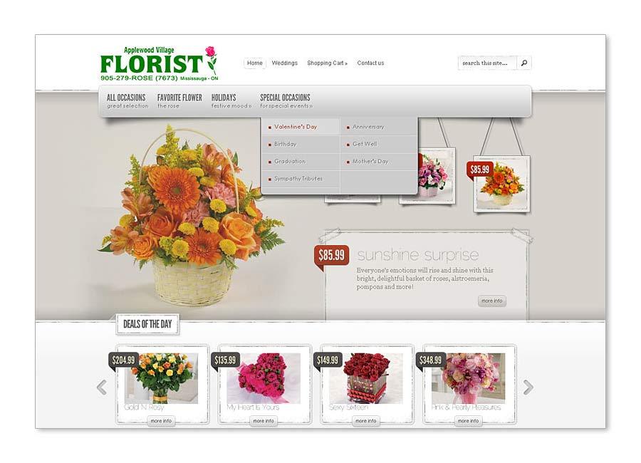 Applewood Florist website home page