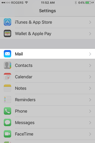 iPhone Settings Mail