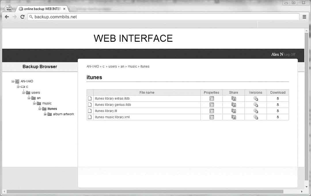 COMMbits Cloud Backup Web Interface